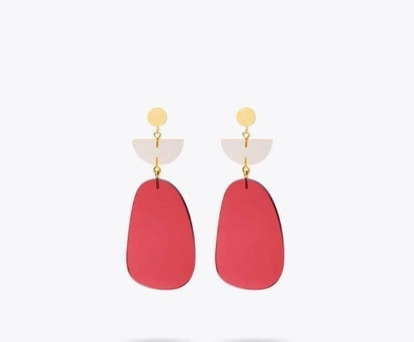 Rose Red Petal Fashion Statement Earrings for Weddings