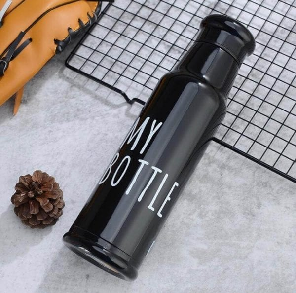 304 Stainless Steel, Double Wall, Vacuum Insulated Leak-proof Reusable Vacuum Bottle Black Glossy Finish Water Bottle